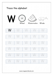 English Worksheet - Alphabet Tracing - Capital Letter W