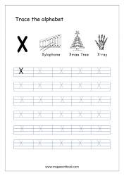 English Worksheet - Alphabet Tracing - Capital Letter X