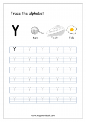 English Worksheet - Alphabet Tracing - Capital Letter Y