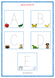 Tracing Letters - Letter Tracing Worksheets - Capital Letters - Recap A-E