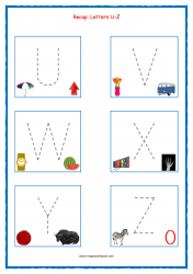 Tracing Letters - Letter Tracing Worksheets - Capital Letters - Recap U-Z