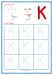 Tracing Letters - Letter Tracing Worksheets - Capital K - Free Preschool Printables