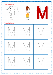 Tracing Letters - Letter Tracing Worksheets - Capital M - Free Preschool Printables