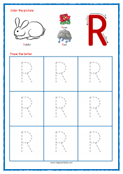 Tracing Letters - Letter Tracing Worksheets - Capital R - Free Preschool Printables