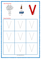 Tracing Letters - Letter Tracing Worksheets - Capital V - Free Preschool Printables