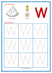 Tracing Letters - Letter Tracing Worksheets - Capital W - Free Preschool Printables