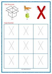 Tracing Letters - Letter Tracing Worksheets - Capital X - Phonic Sounds