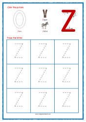 Tracing Letters - Letter Tracing Worksheets - Capital Z - Free Preschool Printables