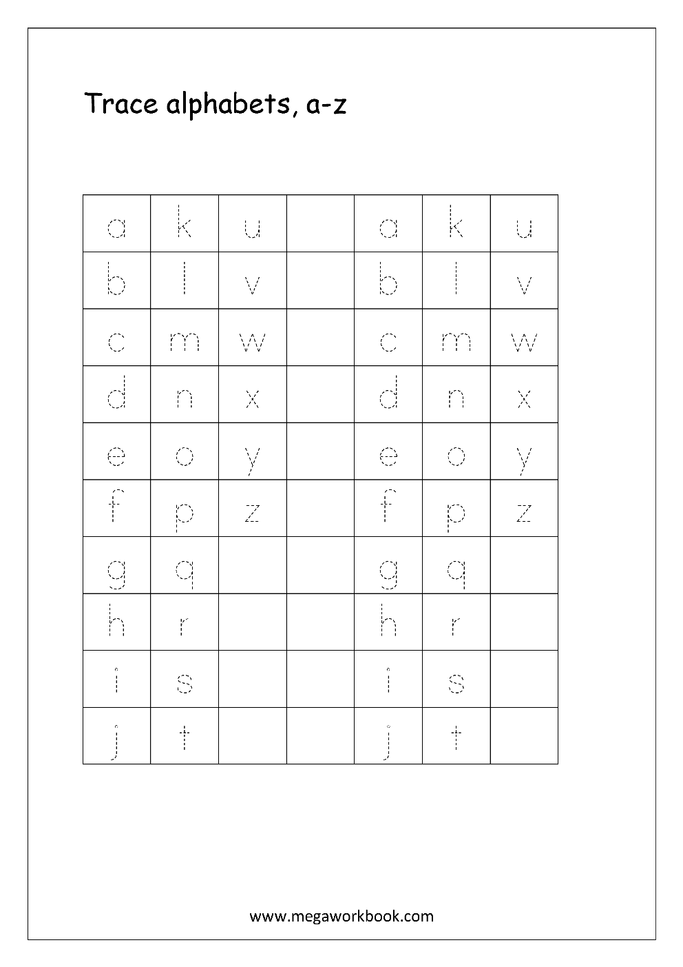 alphabet worksheets a-z