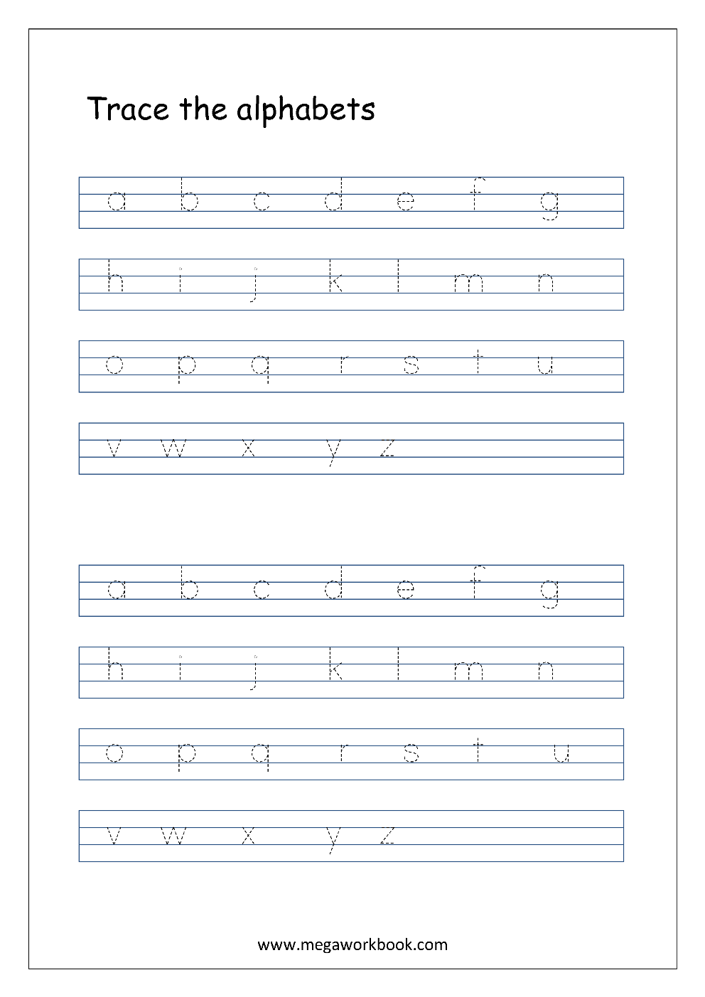 Free English Worksheets - Alphabet Tracing (Small Letters) - MegaWorkbook