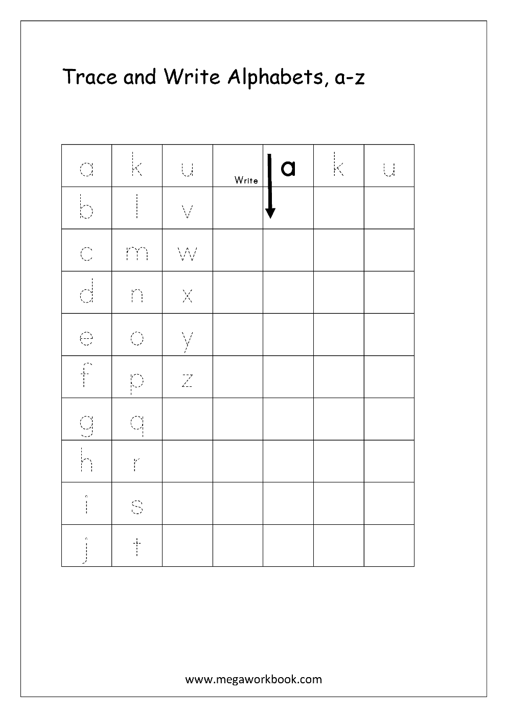 Worksheets Writing The Alphabet Worksheets free english worksheets alphabet writing small letters letter worksheet a z