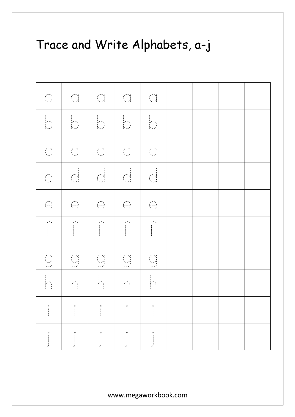 Free english worksheets alphabet writing small letters letter english worksheet alphabet writing small letters a j expocarfo Images