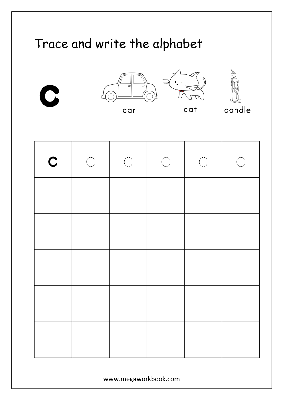 Trace And Write Alphabet C on printable blank writing pages for kindergarten