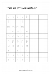 English Worksheet - Alphabet Writing - Small Letters k-t
