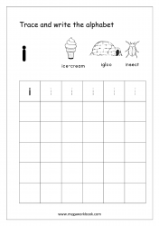 English Worksheet - Alphabet Writing - Small Letter i
