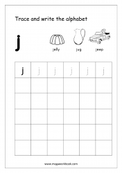 English Worksheet - Alphabet Writing - Small Letter j