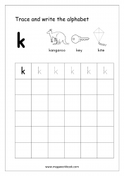 English Worksheet - Alphabet Writing - Small Letter k
