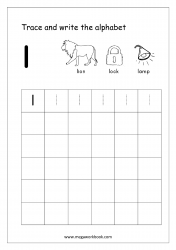 English Worksheet - Alphabet Writing - Small Letter l