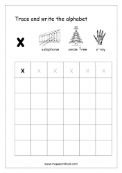 English Worksheet - Alphabet Writing - Small Letter x