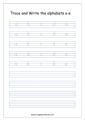 English Worksheet - Alphabet Writing - Small Letters a-e
