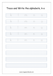 English Worksheet - Alphabet Writing - Small Letters k-o