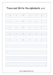 English Worksheet - Alphabet Writing - Small Letters u-z