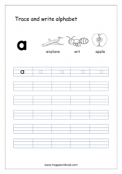 English Worksheet - Alphabet Writing - Small Letter a