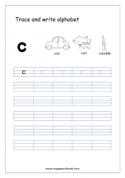 English Worksheet - Alphabet Writing - Small Letter c
