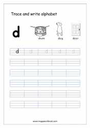 English Worksheet - Alphabet Writing - Small Letter d