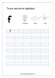 English Worksheet - Alphabet Writing - Small Letter f