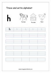 English Worksheet - Alphabet Writing - Small Letter h