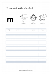 English Worksheet - Alphabet Writing - Small Letter m