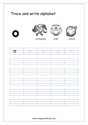 English Worksheet - Alphabet Writing - Small Letter o
