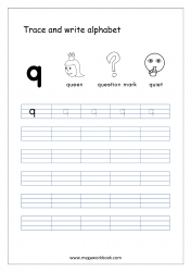 English Worksheet - Alphabet Writing - Small Letter q
