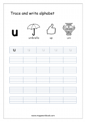 English Worksheet - Alphabet Writing - Small Letter u