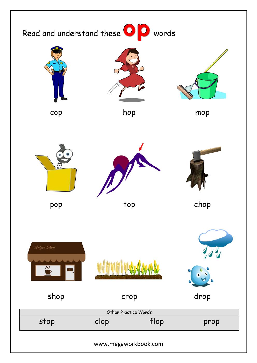 1 Rhyming Words Ending op CVC Words Kindergarten Worksheet