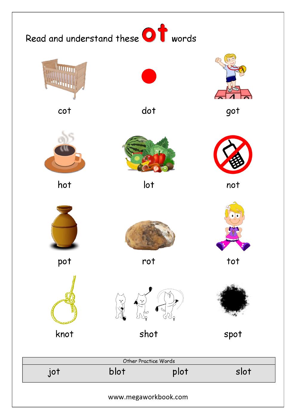 2 Rhyming Words Ending ot CVC Words Kindergarten Worksheet