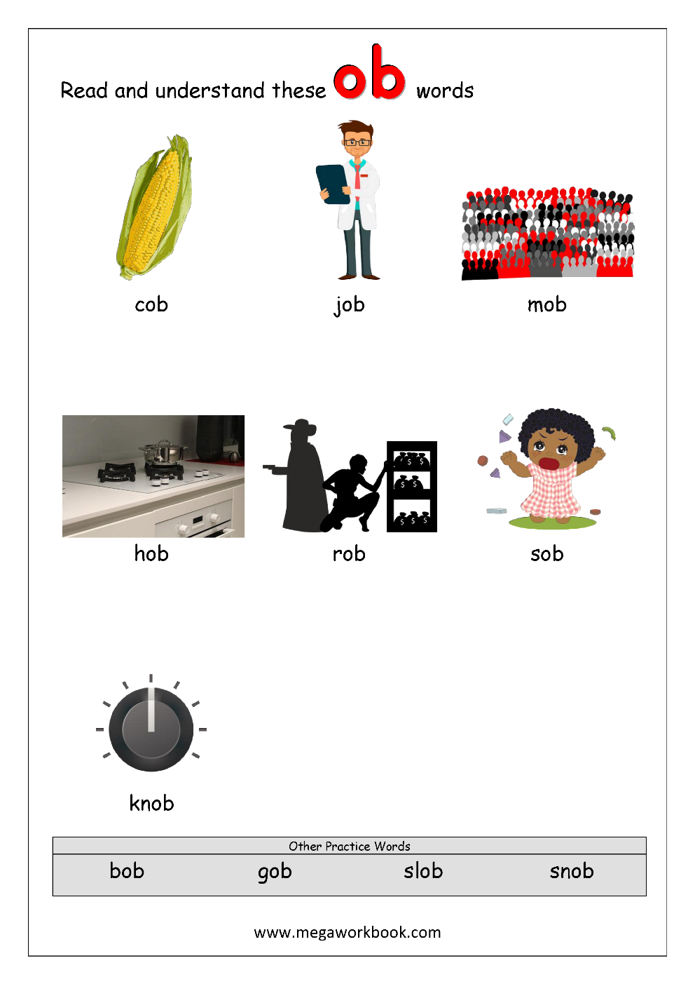 4 Rhyming Words Ending ob CVC Words Kindergarten Worksheet