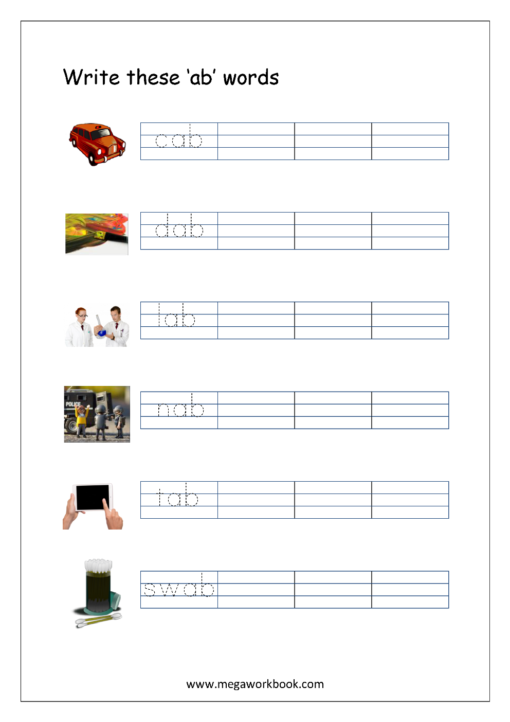 Free Printable CVC Words Writing Worksheets For Kids - Three Letter