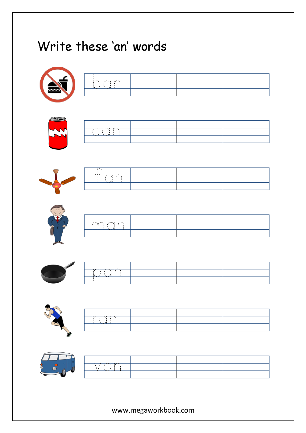 free printable cvc words writing worksheets for kids three letter rhyming words for. Black Bedroom Furniture Sets. Home Design Ideas