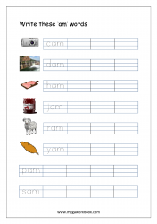 CVC Words Ending With 'am' (CVC Words Writing Worksheets)