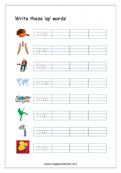 CVC Words Ending With 'ap' (CVC Words Writing Worksheets)