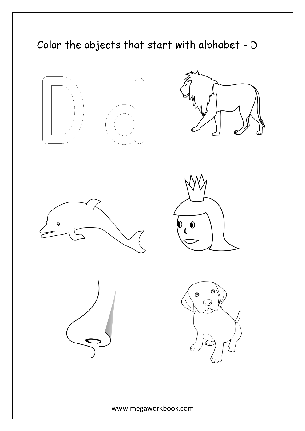 Free english worksheets alphabet picture coloring megaworkbook english worksheet color only the objects starting with alphabet d thecheapjerseys Gallery