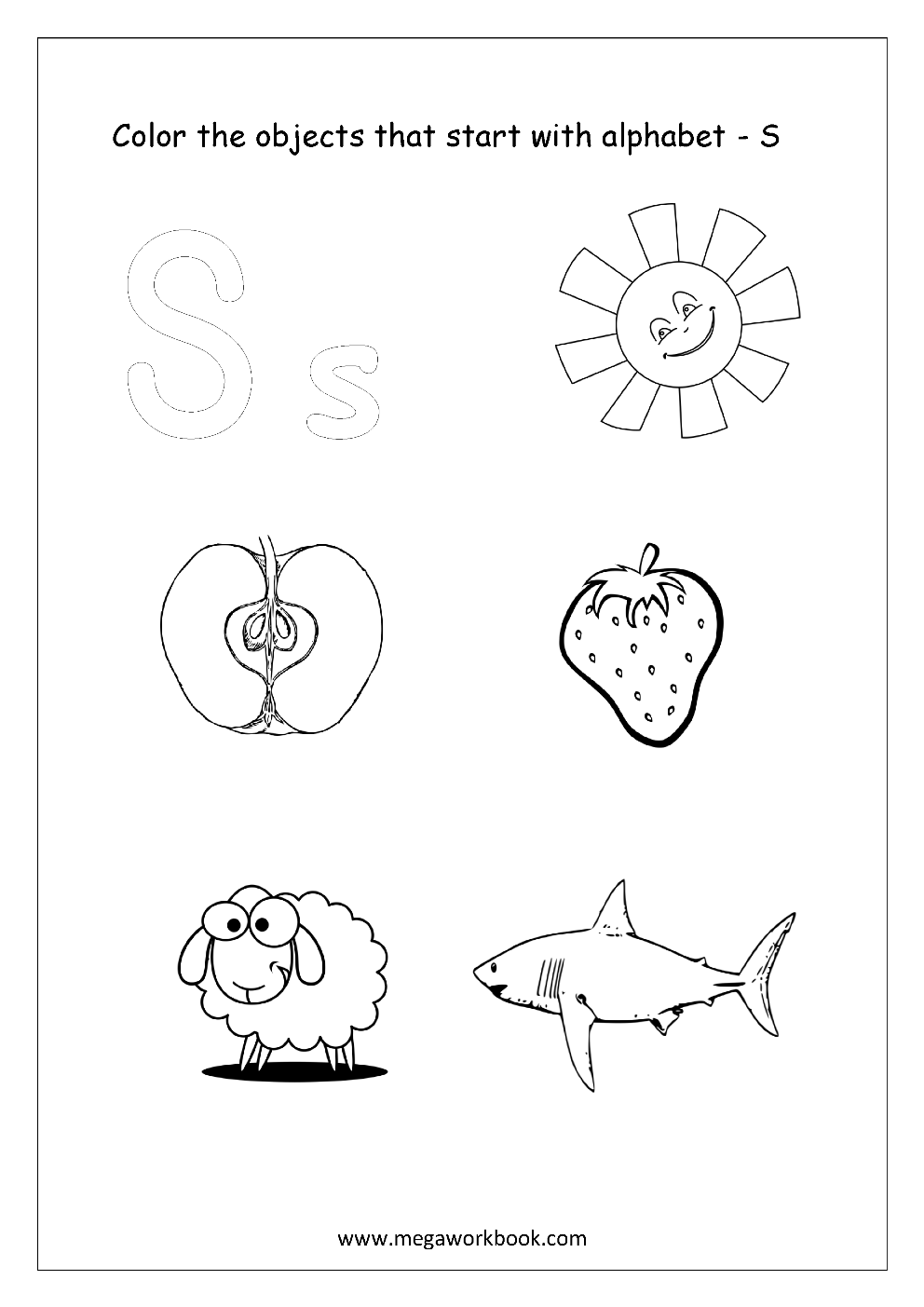 Free english worksheets alphabet picture coloring megaworkbook english worksheet color only the objects starting with alphabet s altavistaventures Images