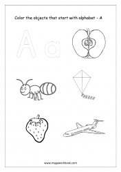 English Worksheet - Color Only The Objects Starting With Alphabet A