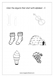 English Worksheet - Color Only The Objects Starting With Alphabet I