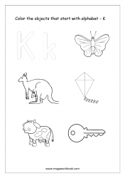 English Worksheet - Color Only The Objects Starting With Alphabet K