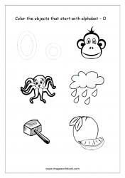 English Worksheet - Color Only The Objects Starting With Alphabet O