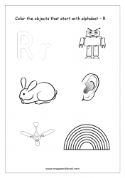 English Worksheet - Color Only The Objects Starting With Alphabet R