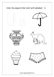 English Worksheet - Color Only The Objects Starting With Alphabet U